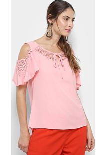 Blusa Open Shoulder Top Moda Com Renda Feminina - Feminino-Rosa