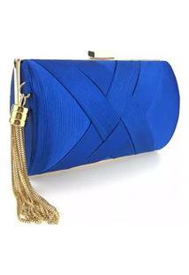 Bolsa Clutch Liage Cetim E Metal Alça Azul Escuro Royal E Dourada