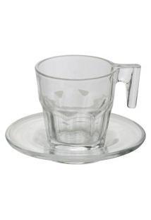 Conjunto Com 6 Xícaras Bon Gourmet Em Vidro Para Café Com Pires Allure Incolor
