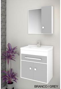 Gabinete Para Banheiro Kit Vegas 50Cm - Balcão + Espelheira + Marmorite - Branco Grey