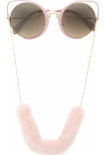 Miu Miu Eyewear Óculos De Sol Oversized Com Corrente - Metálico