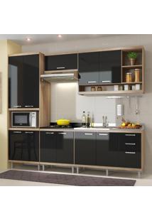 Cozinha Compacta 11 Portas Com Balcão Sem Pia 5808 Preto/Argila - Multimóveis