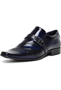 Sapato Social Gofer 0632 Co Verniz Blue-Colmeia Preto