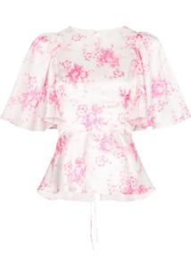 Les Rêveries Blusa Floral De Seda - Branco