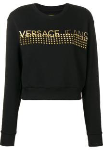 Versace Jeans Couture Blusa Com Logo E Tachas - Preto