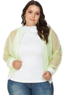 Jaqueta De Tule Com Bordado Verde Miss Masy Plus