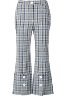 Eudon Choi Check Cropped Trousers - Cinza