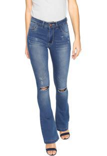 Calça Jeans Grifle Company Flare Destroyed Azul - Kanui