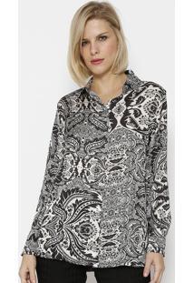 Camisa Abstrata Acetinada - Preta & Brancasimple Life