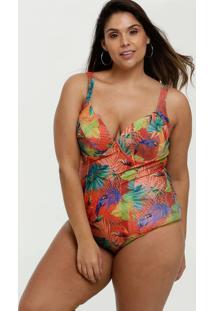 Maiô Feminino Estampa Tropical Plus Size Banho De Mar
