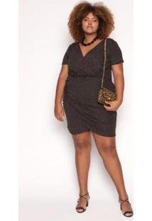Vestido Curto Almaria Plus Size Sinap Lurex Feminino - Feminino-Preto