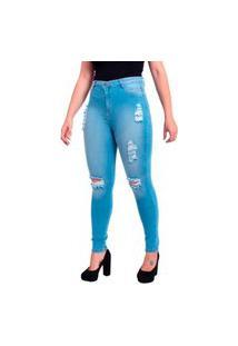 Calça Jeans Feminina Skinny Destroyed Rasgada Cintura Alta Espelho Duplo Delave Azul Claro