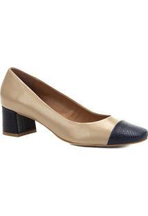 Scarpin Couro Shoestock Salto Baixo Cobra - Feminino