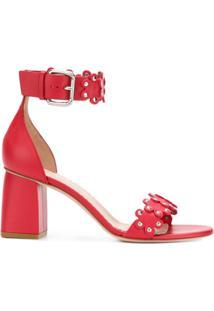 Red Valentino Sandália De Couro - Vermelho