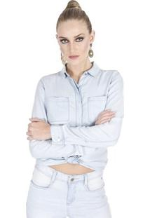 Camisa Jeans Calvin Klein - Feminino-Azul Claro