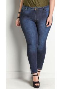 Calça Jeans Sawary Modelo Legging Plus Size Azul