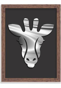 Quadro Decorativo Em Relevo Espelhado Zebra Prateada Madeira - Médio