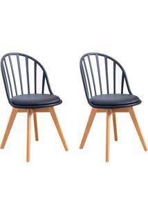 Conjunto Com 2 Cadeiras Laris Tulipa Base Madeira Preto