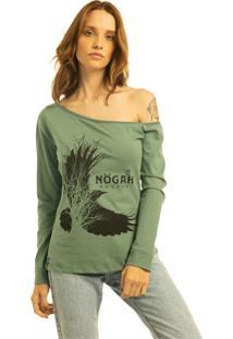 T-Shirt Nogah Birdtree Verde Ombro Caído - Kanui
