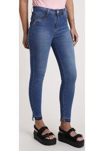 Calça Jeans Feminina Sawary Skinny Cintura Alta Com Tachas Azul Médio
