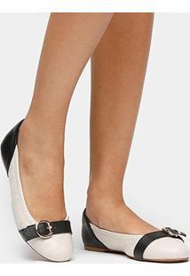 Sapatilha Couro Shoestock Bicolor Fivela Feminina - Feminino