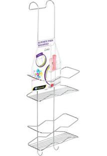 Porta Shampoo Duplo Luxo- Prateado- 61,5X22X15,5Cm