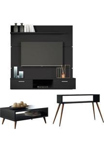 Painel Tv Flat 1.6 Com Mesa De Centro Lucy E Aparador Quad Preto - Hb Móveis