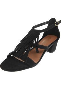 Sandália Dafiti Shoes Salto Grosso Franjas Preta