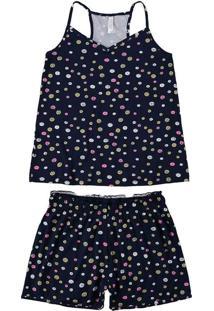 Pijama Feminino Malwee 1000077227 Be27A-Azul-Marin