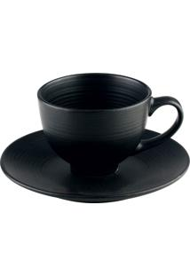Conjunto 4 Xícaras Porcelana Para Chá Com Pires Preto 195Ml