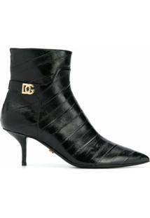 Dolce & Gabbana Ankle Boot Bico Fino De Couro - Preto