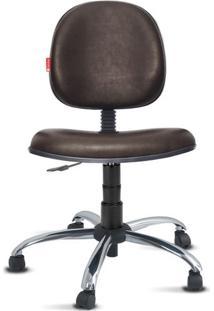 Cadeira Executiva Giratória Cromada Courvin Marrom Café
