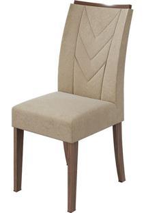 Cadeira Atacama Veludo Naturale Creme Imbuia Naturale