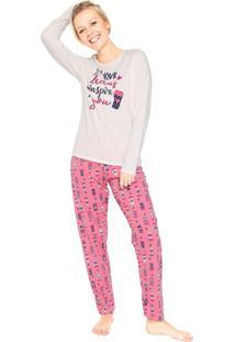 Pijama Malwee Liberta Coffee Bege/Rosa