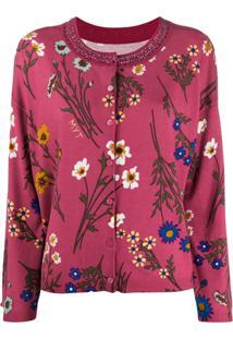 Twin-Set Floral Print Cardigan - Rosa