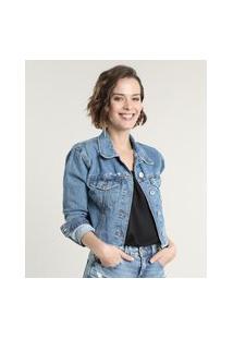 Jaqueta Jeans Feminina Cropped Destroyed Azul Escuro