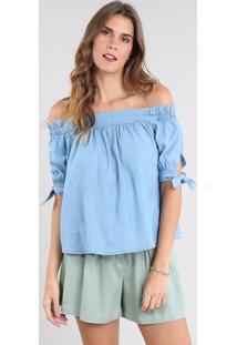 Blusa Jeans Feminina Ombro A Ombro Manga Curta Azul Claro