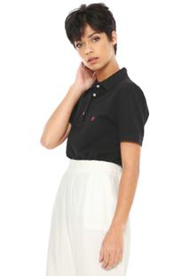 Camisa Polo Carmim Reta Logo Preta