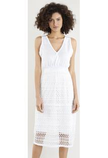 3ea396daa CEA. Vestido Feminino Midi Em Tricô Com Lurex Decote V Off White