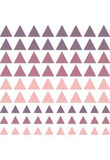 Adesivo De Parede Triangulos Roxo E Rosa 91Un