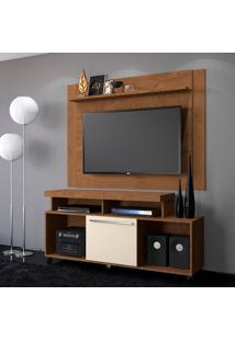 Rack Com Painel Para Tv Até 55 Polegadas Quebec Nature E Off White 180 Cm