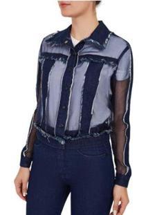 Jaqueta Classica Compose De Tecidos Jeans - Feminino-Azul
