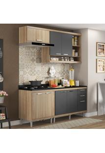 Cozinha Compacta 7 Portas 3 Gavetas Sicilia 5811 Argila/Grafite Premium - Multimóveis