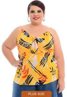 Blusa Forma Nó Amarela Plus Size