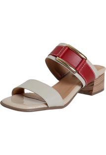 Tamanco Laura Prado Confort Medio Marfim/Vermelho