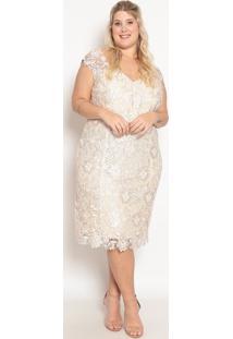 Vestido Em Renda Guipir- Off White- Pianetapianeta