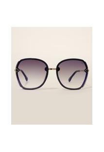 Óculos De Sol Feminino Redondo Yessica Azul Marinho