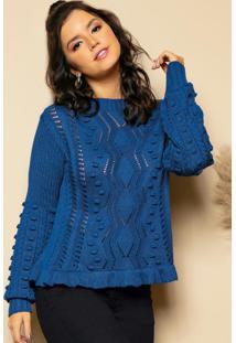 Blusa Azul Em Tricô Trabalhado E Mangas Bufantes