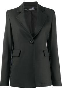 Love Moschino Blazer Com Lapelas E Listra De Logo Lateral - Preto