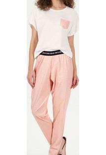 Pijama Feminino Longo Cor Com Amor 12759 Off-White
